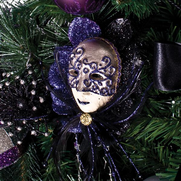 Black/Purple Mask Decoration - 20cm