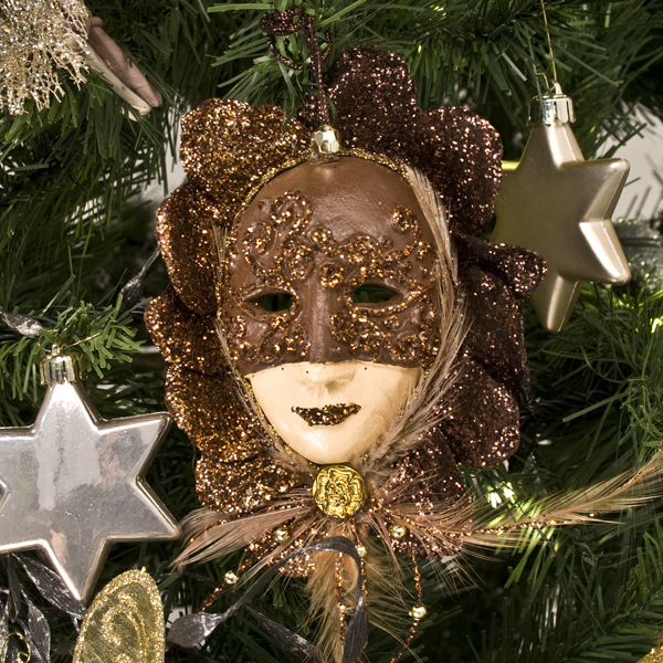 Brown/Taupe Mask Decoration - 20cm