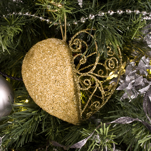 Gold Filligree And Bead Heart Decoration - 11cm