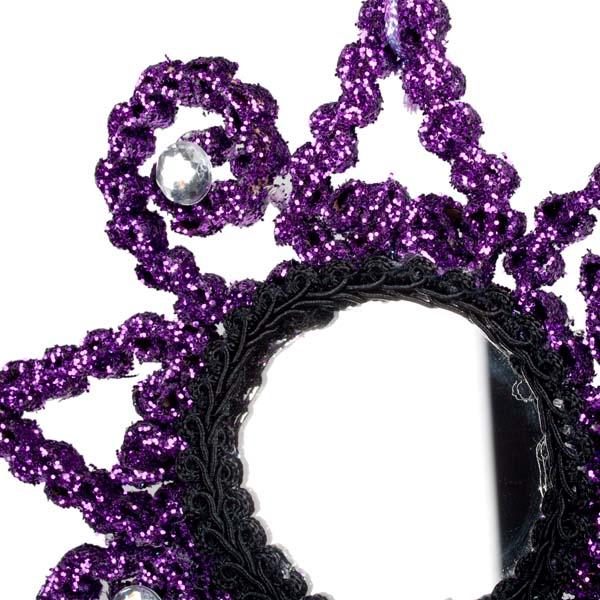 Purple & Black Flower Mirror Decoration - 12cm