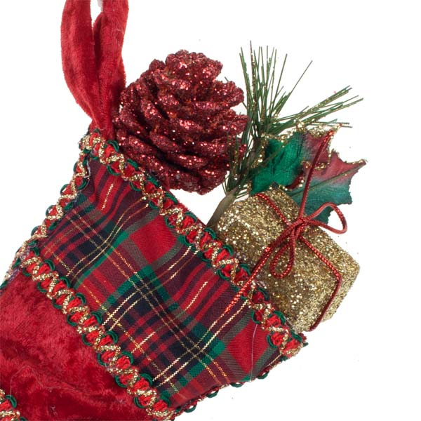 Red & Green Tartan Stocking Decoration - 10cm X 20cm