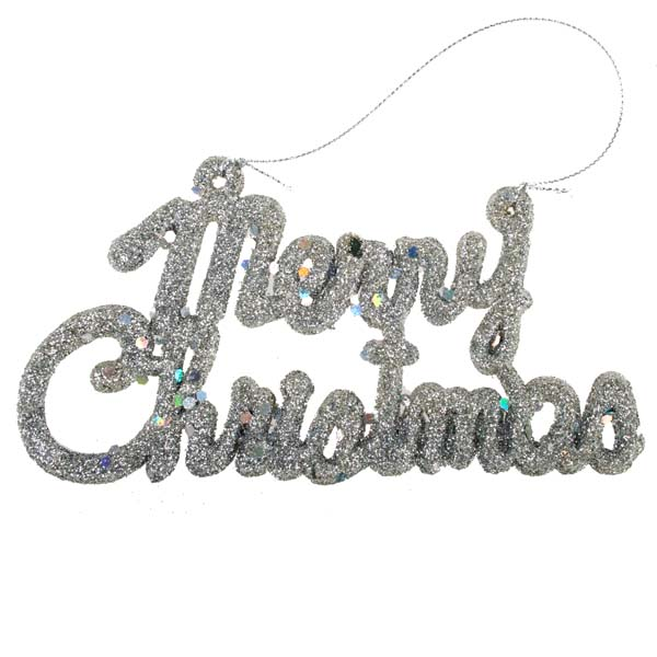 Silver Glitter 'Merry Christmas' Hanging Decoration - Pack of 4