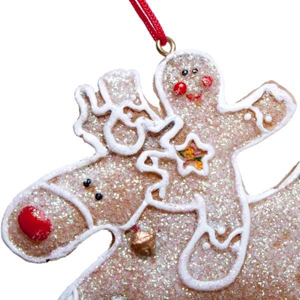 Gisela graham gingerbread reindeer with gingerbread man decoration