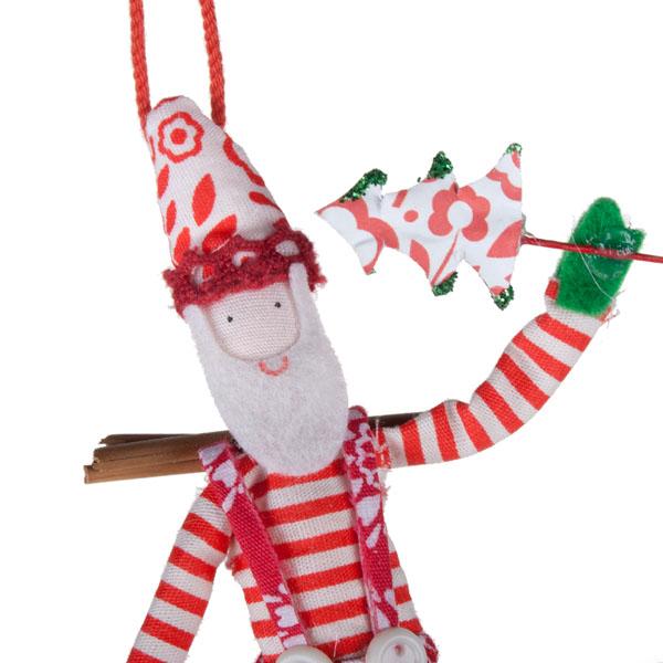Gisela Graham Hanging Santa With Rosette Pattern Clothing - 12cm (022-19306-RT)