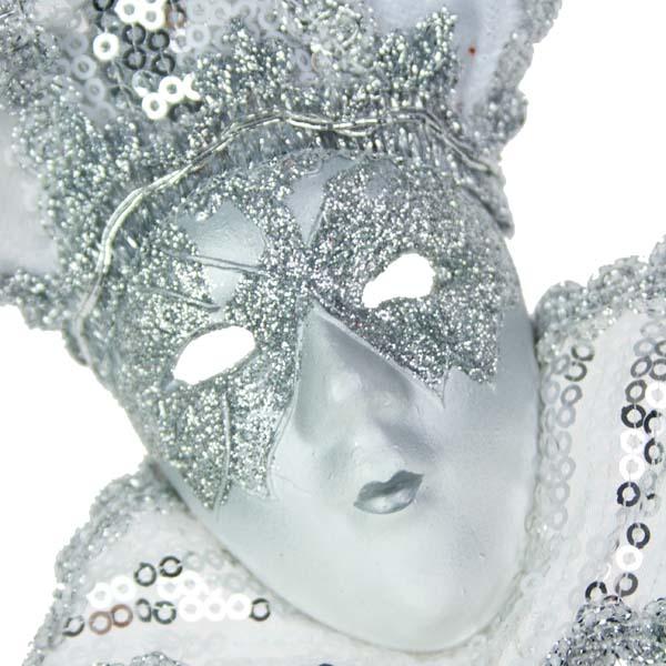 Silver & White Opulent Ceramic Mask Hanging Decoration - 30cm
