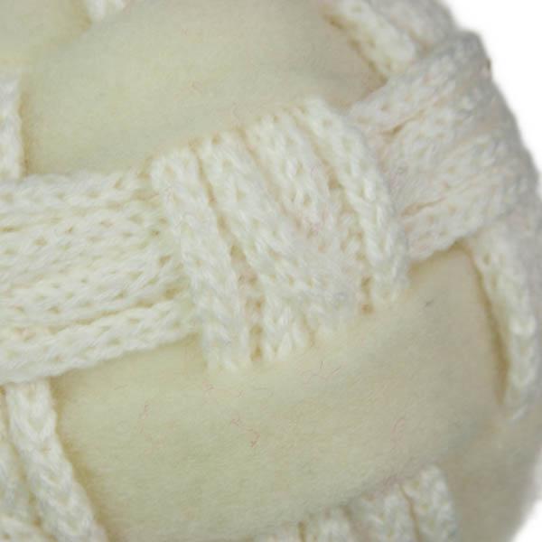 White Felt & Wool Knit Ball Decoration - 10cm