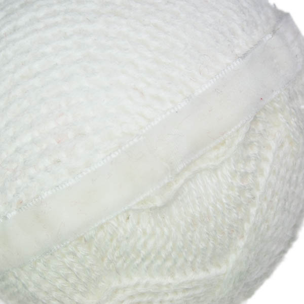 White Knitted Hanging Ball with Felt Band - 8cm