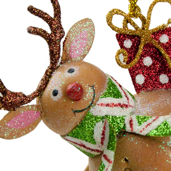 Reindeer Hanging Decoration with Present Box