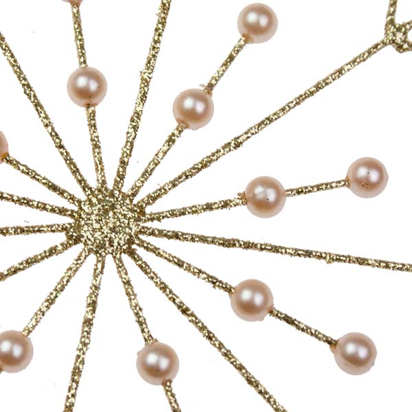 Gold Glitter & Bead Spiky Snowflake Decoration - 120mm