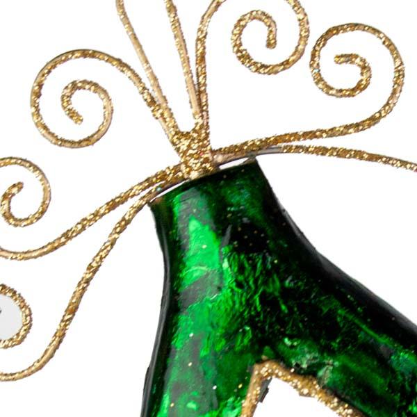 Green Metal Filigree Droplet Hanging Decoration - 15cm