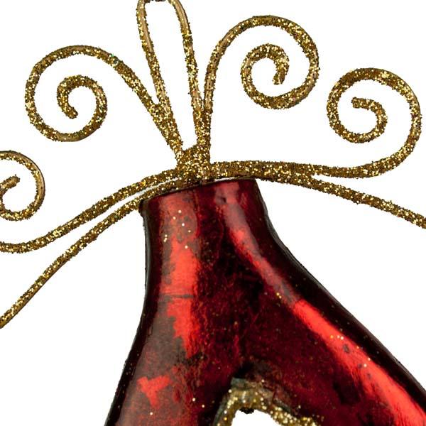 Red Metal Filigree Droplet Hanging Decoration - 15cm