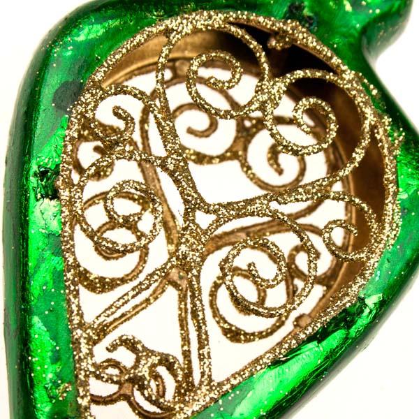 Green Metal Filigree Oval Hanging Decoration - 14cm