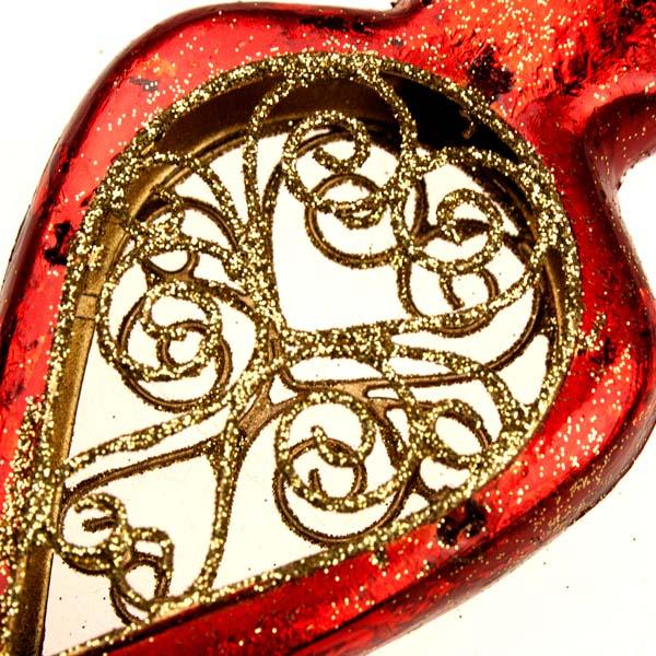 Red Metal Filigree Oval Hanging Decoration - 14cm