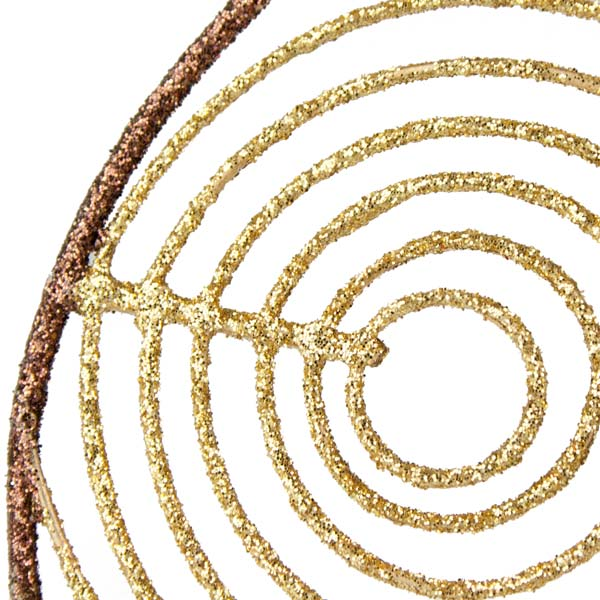 Gold & Brown Oval Glittered Wire Decoration - 13cm