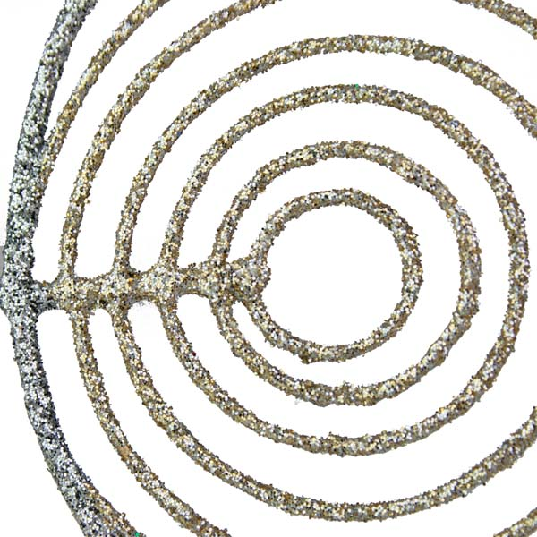 Silver & Champagne Gold Oval Glittered Wire Decoration - 13cm