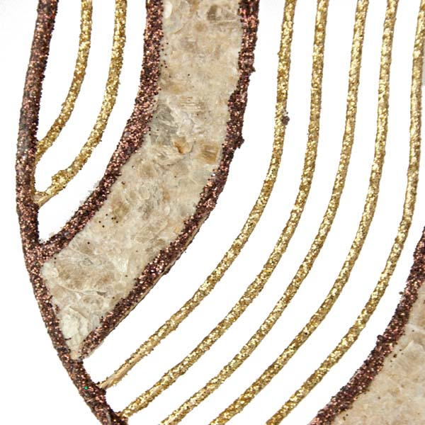 Gold & Brown Capiz Shell Teardrop Hanging Decoration - 14cm