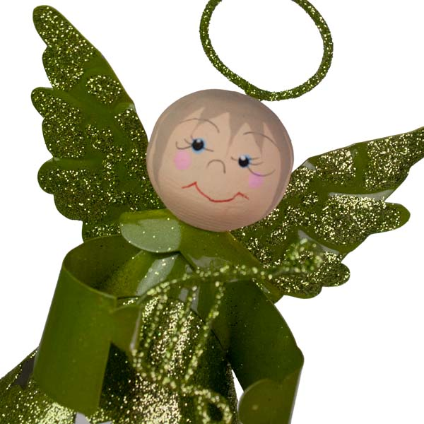 Glittered Lime Green Metal Angel With Dangly Legs And Harp - 13cm