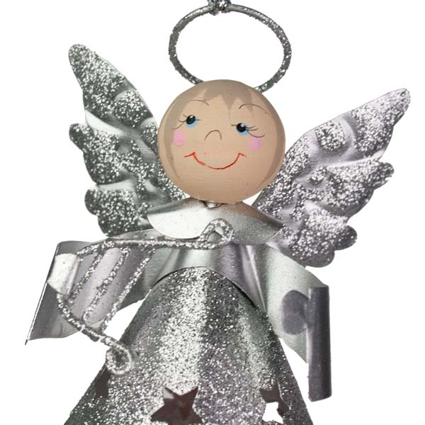 Glittered Silver Metal Angel With Dangly Legs And Harp - 13cm