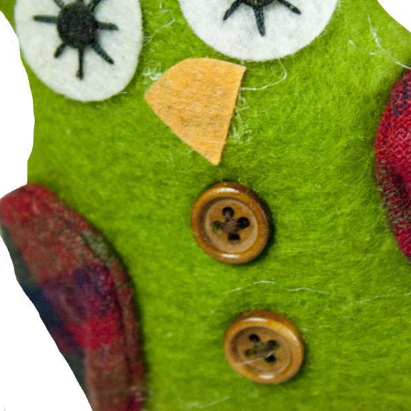 Gisela Graham Green Fabric Owl Hanger - 11cm