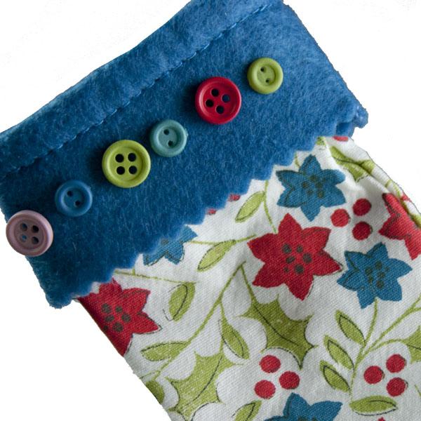 Gisela Graham Vintage Holly & Flower Fabric Stocking - 15cm