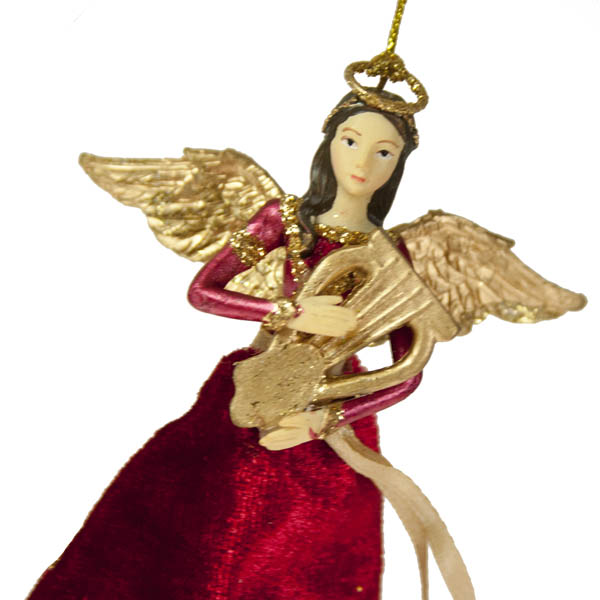 Gisela Graham Rejoice Angel With Harp - 12cm