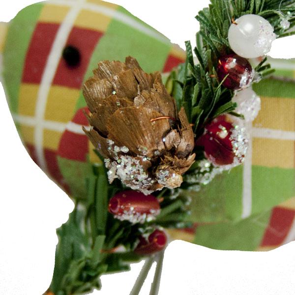 Gisela Graham Chunky Check Tartan Fabric Bird - 7cm
