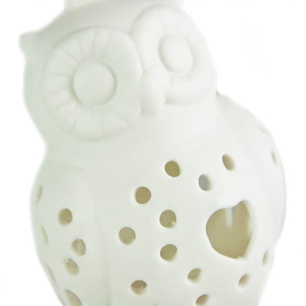 Gisela Graham White Ceramic Owl Hanging Decoration - 8cm (022-26804)