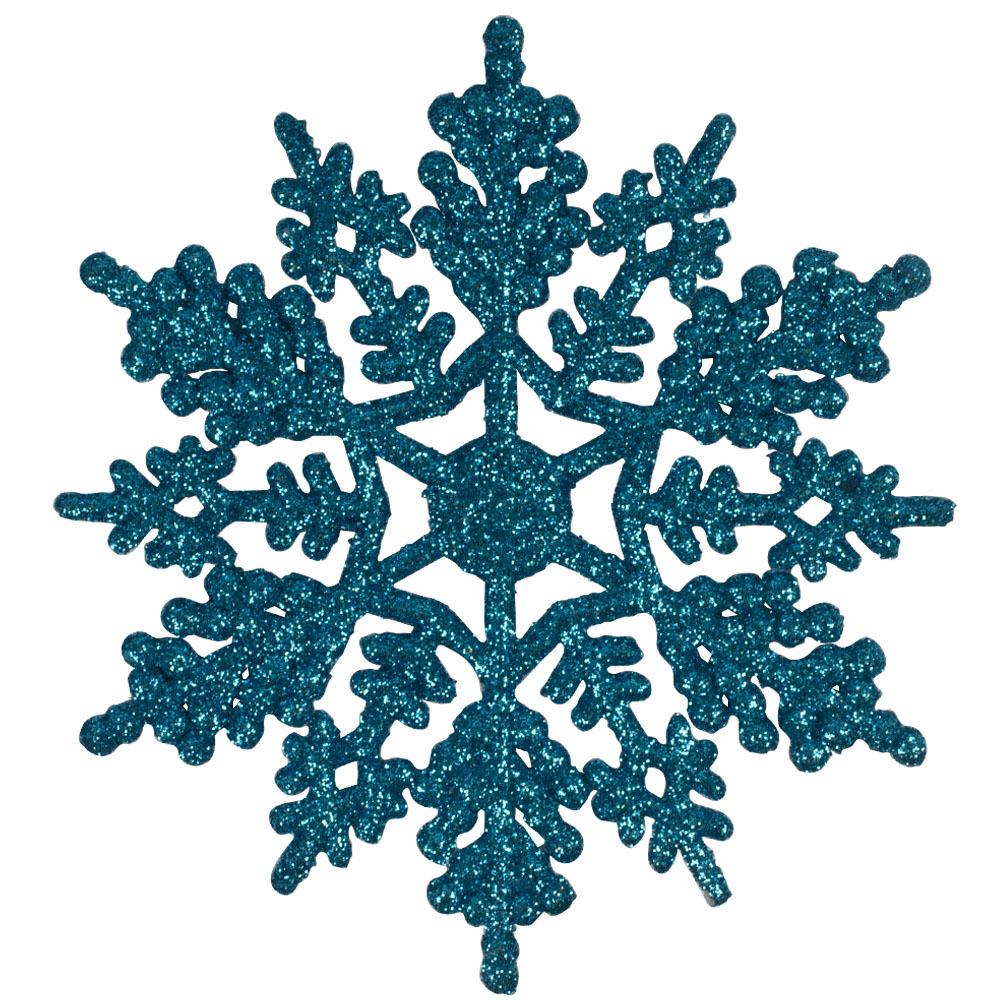 Pack Of 10 Blue Glitter Finish Snowflakes - 11cm