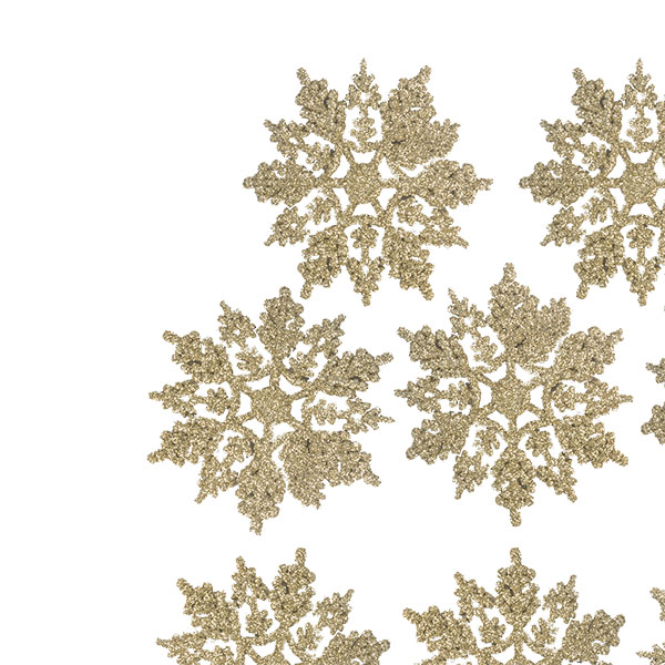 Pack Of 10 Gold Glitter Finish Snowflakes - 11cm