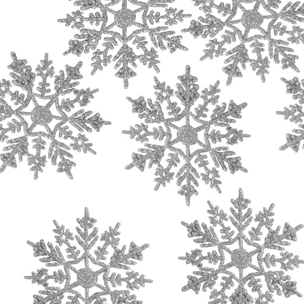 Pack Of 10 Silver Glitter Finish Snowflakes - 11cm