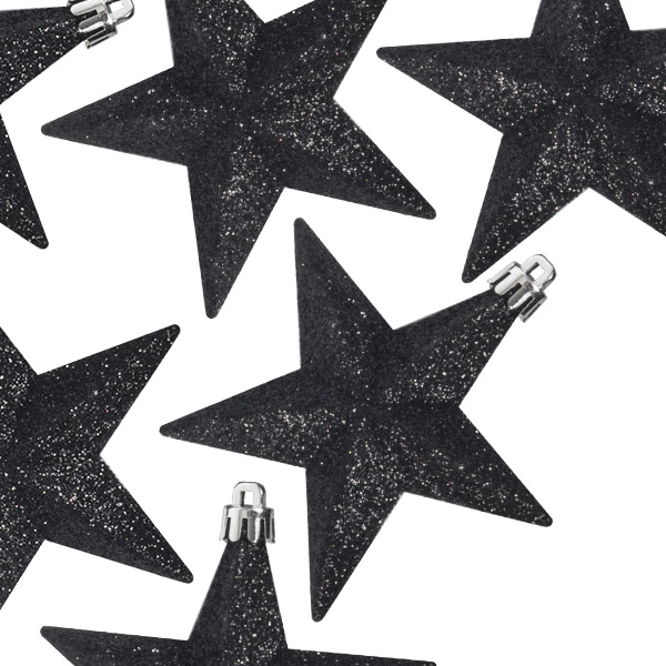 Pack Of 6 X 100mm Black Shatterproof Star Hanging Decorations