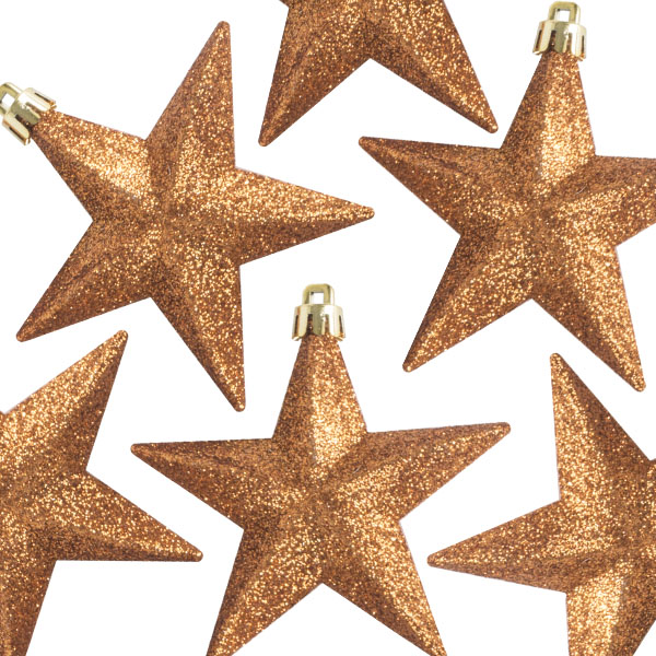 Pack Of 6 X 100mm Copper Shatterproof Star Hanging Decorations