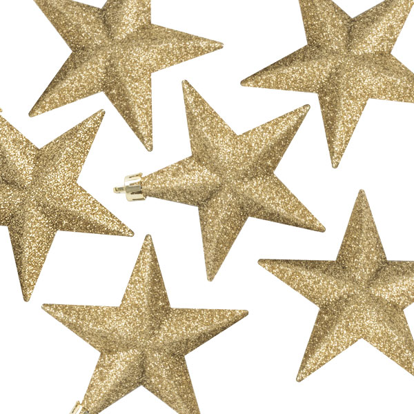 Pack Of 6 X 100mm Gold Shatterproof Star Hanging Decorations