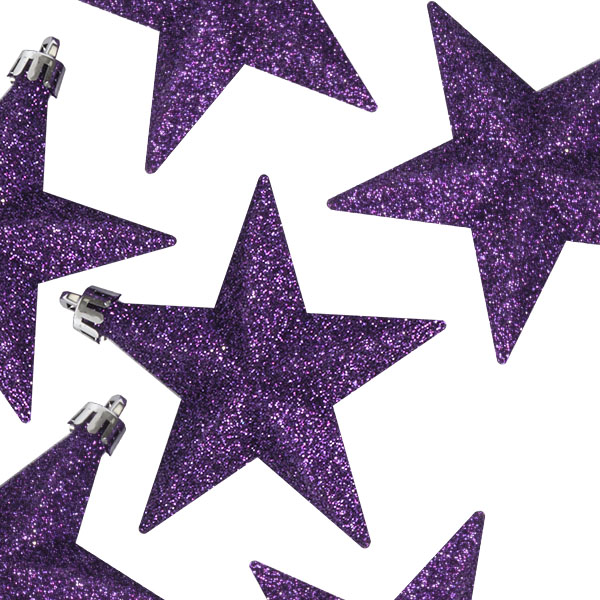 Pack Of 6 X 100mm Purple Shatterproof Star Hanging Decorations