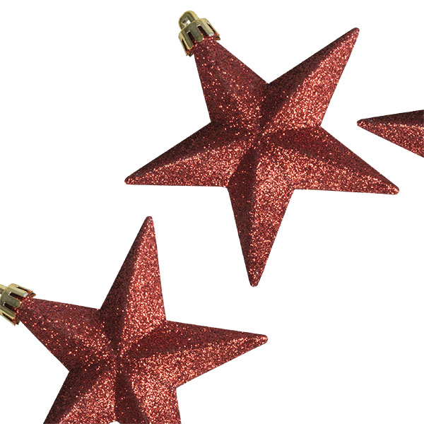 Pack Of 6 X 100mm Red Shatterproof Star Hanging Decorations
