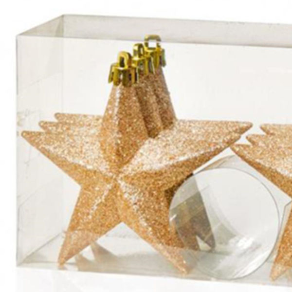 Pack Of 6 X 100mm Rose Gold Shatterproof Star Hanging Decorations
