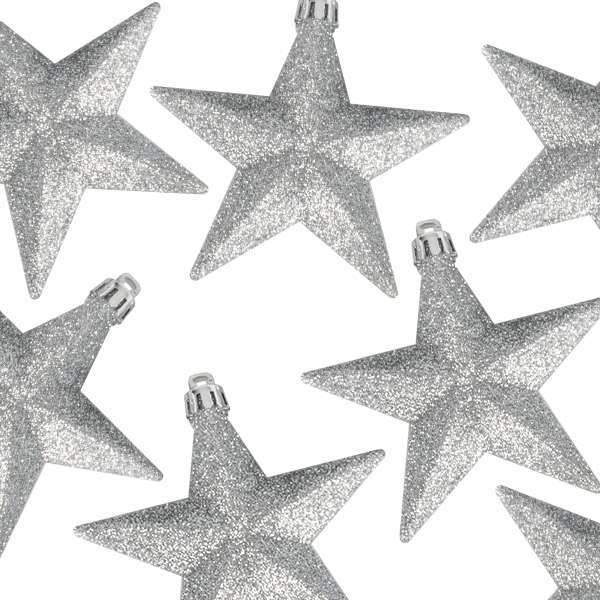 Pack Of 6 X 100mm Silver Shatterproof Star Hanging Decorations
