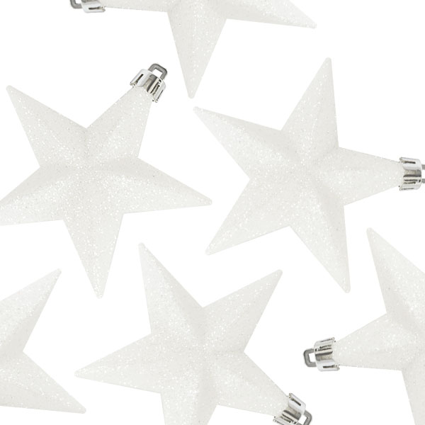 Pack Of 6 X 100mm White Shatterproof Star Hanging Decorations