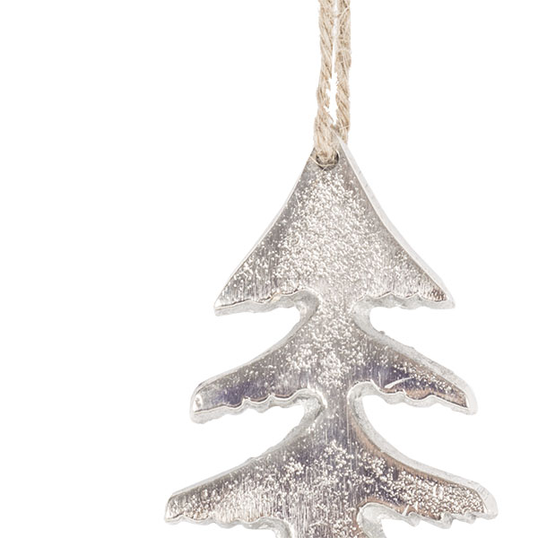 Silver Coloured Aluminium Tree Decoration - 6cm x 10.5cm
