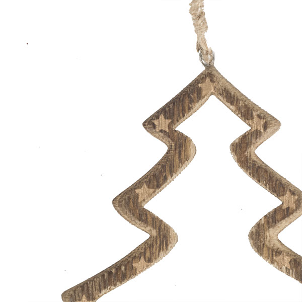 Wooden Open Tree Hanging Decoration With Gold Stars - 10cm X 10cm