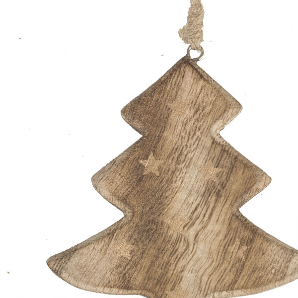 Wooden Tree Hanging Decoration With Gold Stars - 10cm X 10cm