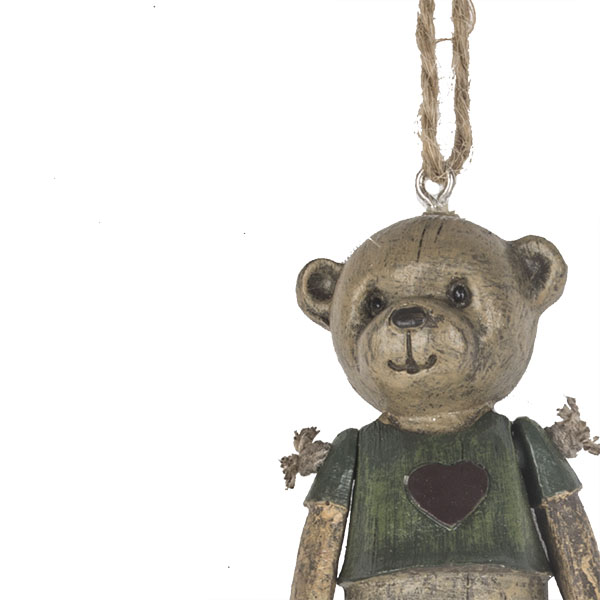 Vintage Style Teddy Tree Decoration With Green Jumper - 9cm
