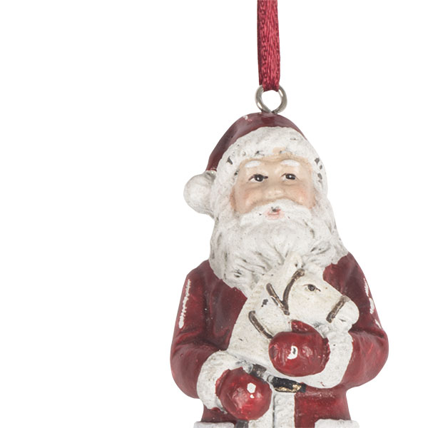 Vintage Style Santa Tree Decoration With Hobby Horse - 11cm