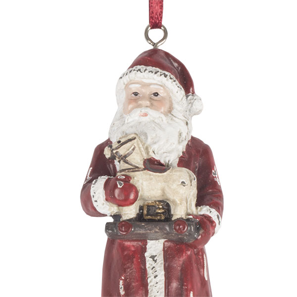 Vintage Style Santa Tree Decoration With Horse On Wheels - 11cm