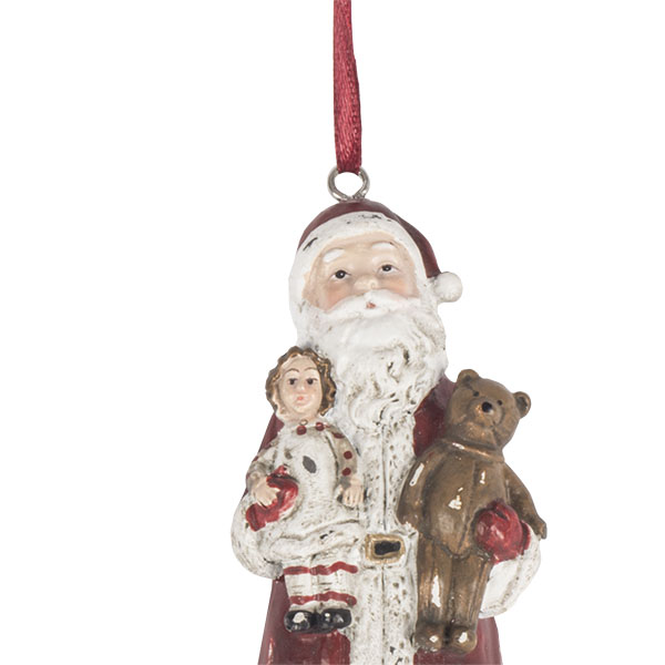 Vintage Style Santa Tree Decoration With Doll & Teddy Bear - 11cm