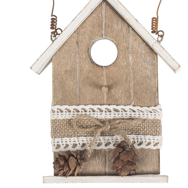 Rustic Brown Wooden Bird House Hanging Decoration - 13cm