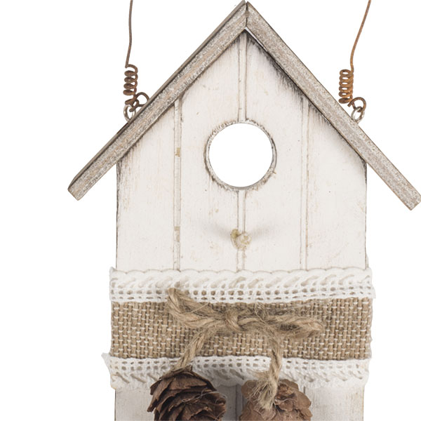Rustic Cream Wooden Bird House Hanging Decoration - 13cm