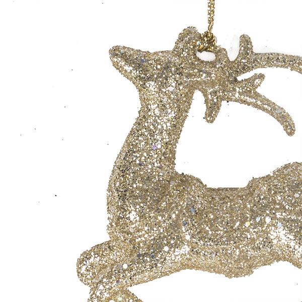 Gold Glitter Rocking Reindeer Hanging Decoration - 11cm
