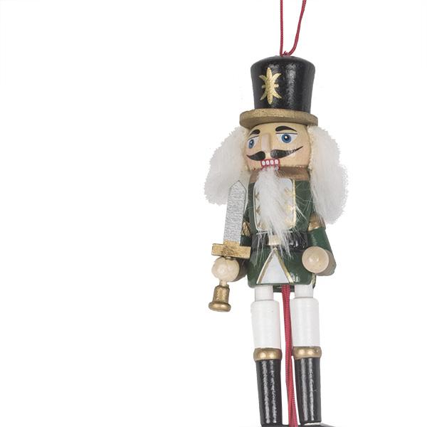Green & White Wooden Jumping Jack Nutcracker Hanging Decoration - 12cm
