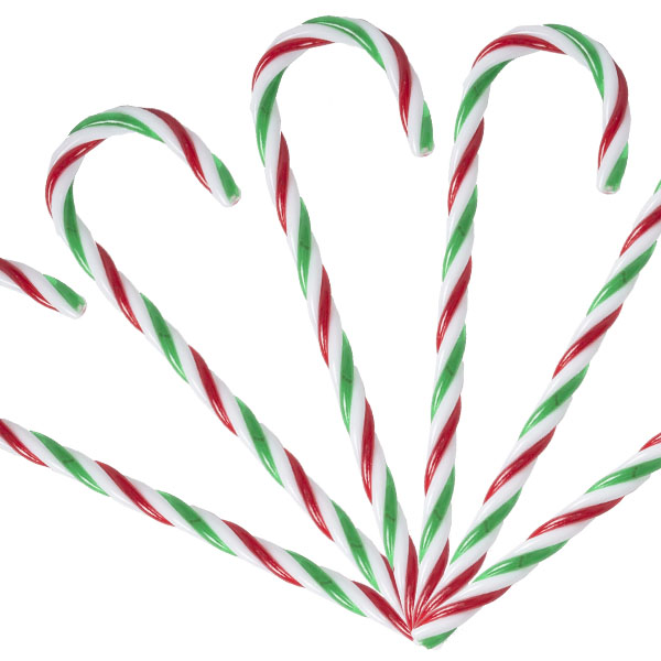 Red, White & Green Candy Canes - 6 x 13cm